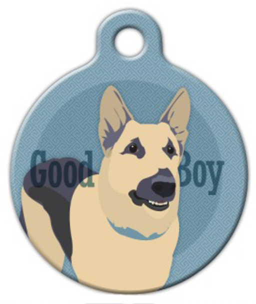 Dog Tag Art Good Boy German Shepherd Pet ID Dog Tag