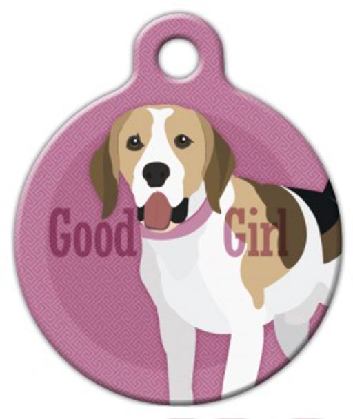 Dog Tag Art Good Girl Beagle Pet ID Dog Tag