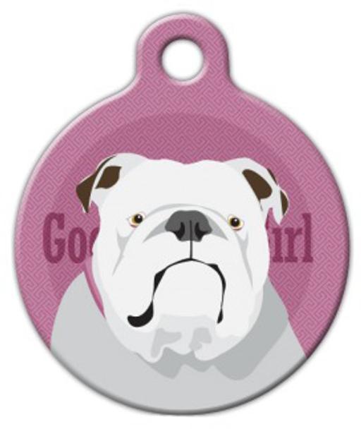 Dog Tag Art Good Girl English Bulldog Pet ID Dog Tag
