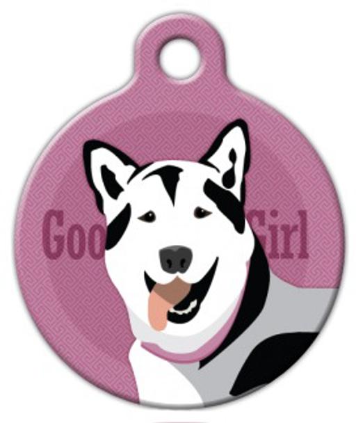 Dog Tag Art Good Girl Husky Pet ID Dog Tag