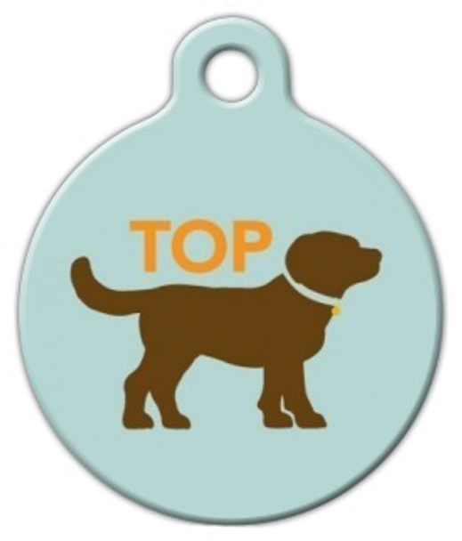 Dog Tag Art Top Dog Sihouette Pet ID Dog Tag