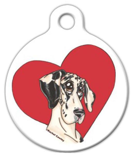 Dog Tag Art Heart Harlequin Great Dane Pet ID Dog Tag