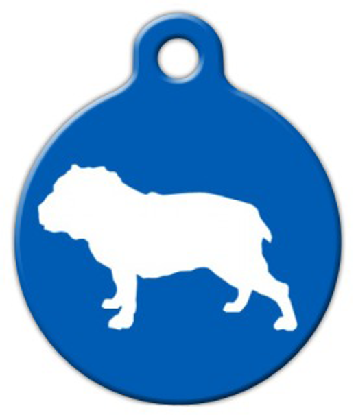 Dog Tag Art Bull Dog Silhouette Pet ID Dog Tag