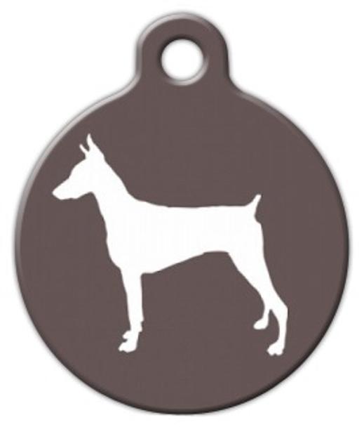 Dog Tag Art Doberman Pinscher Silhouette Pet ID Dog Tag