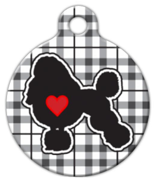 Dog Tag Art Plaid Poodle Love Pet ID Dog Tag