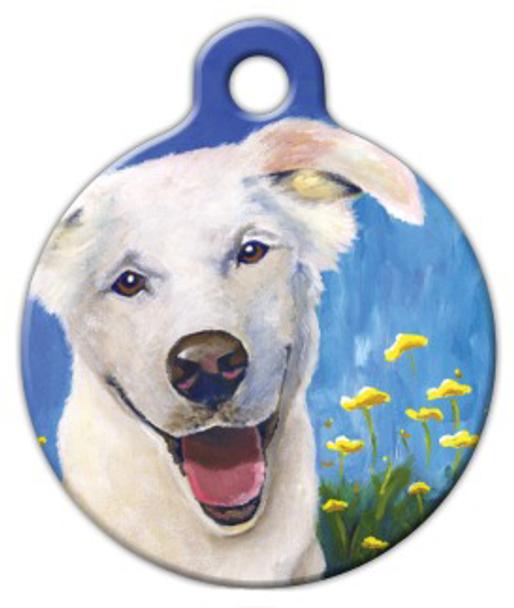 Dog Tag Art Happy White Doggie Pet ID Dog Tag