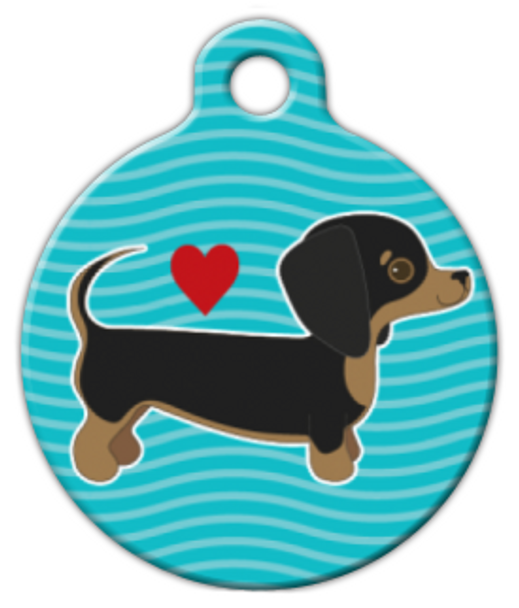Dog Tag Art Dachshund Pup Love Pet ID Dog Tag