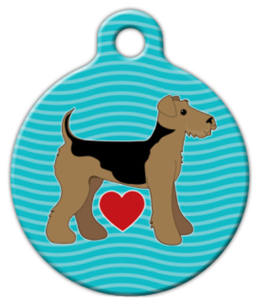 Dog Tag Art Airedale Pup Love Pet ID Dog Tag