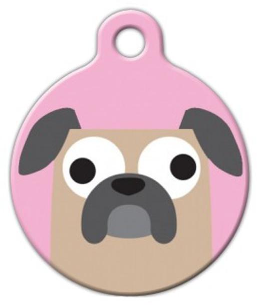 Dog Tag Art Buggy Pug Girl Pet ID Dog Tag
