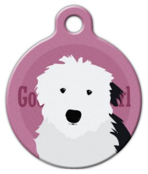 Dog Tag Art Good Girl Old English Sheepdog Pet ID Dog Tag