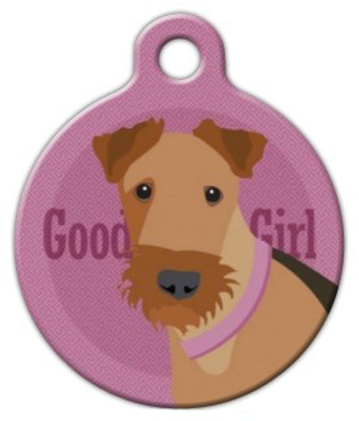 Dog Tag Art Good Girl Airedale Pet ID Dog Tag