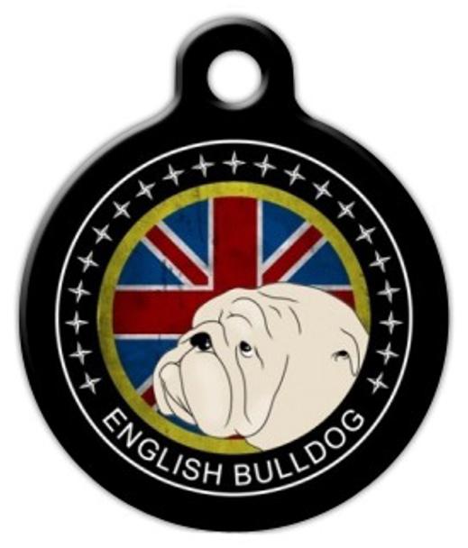Dog Tag Art English Bulldog Emblem Pet ID Dog Tag