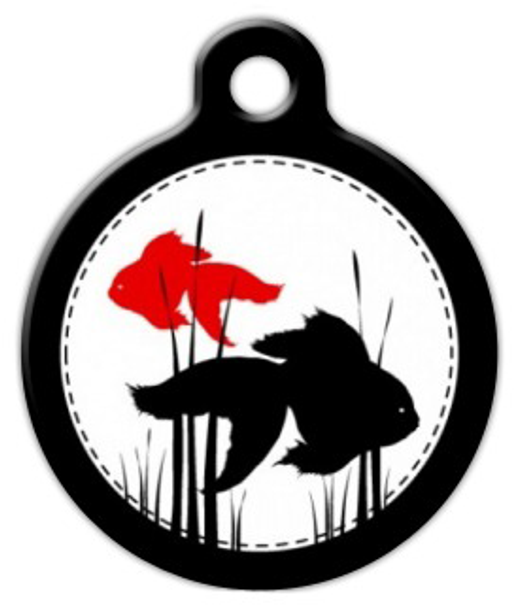 Dog Tag Art Black White and Red Fish Pet ID Dog Tag