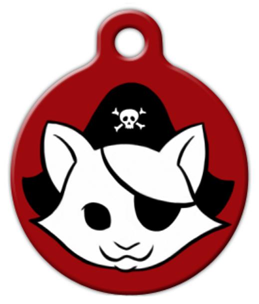 Dog Tag Art Red Kitty Pirate Pet ID Dog Tag