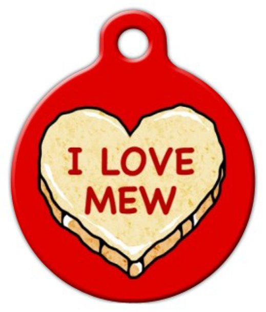 Dog Tag Art I LOVE MEW Candy Heart Pet ID Dog Tag