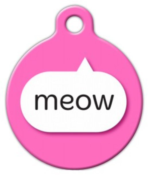 Dog Tag Art Pink Meow Pet ID Dog Tag
