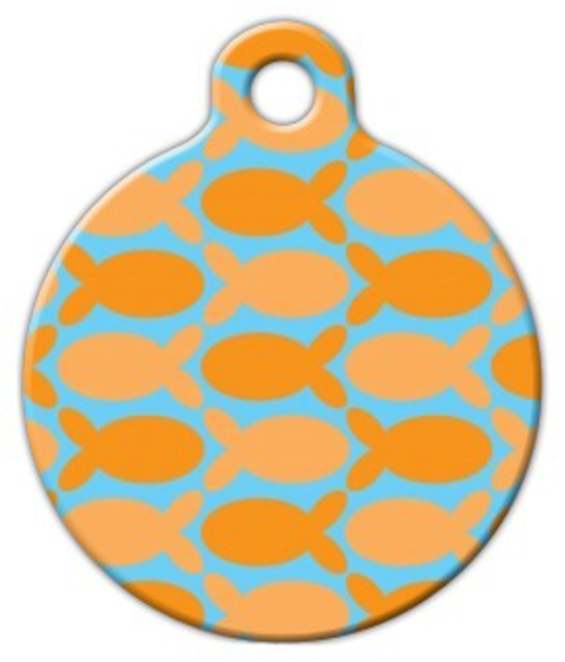 Dog Tag Art Orange Fish on Blue Pet ID Dog Tag