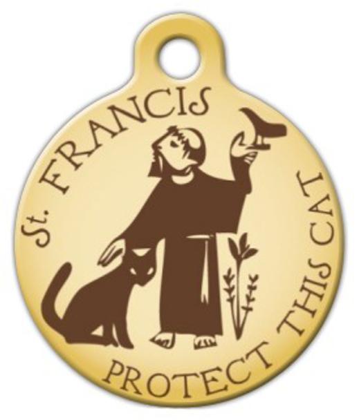 Dog Tag Art St. Francis Protect This Cat Pet ID Dog Tag