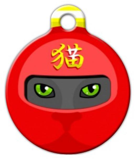 Dog Tag Art Red Ninja Mask Pet ID Dog Tag
