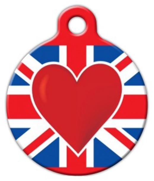 Dog Tag Art Britain Heart Pet ID Dog Tag