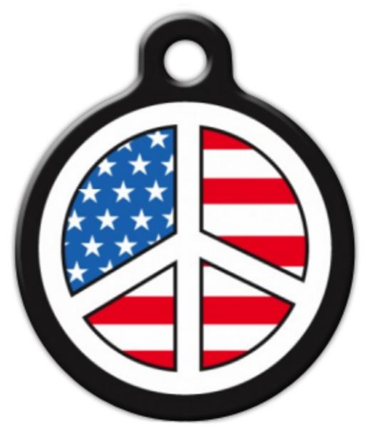 Dog Tag Art USA Peace Sign Pet ID Dog Tag