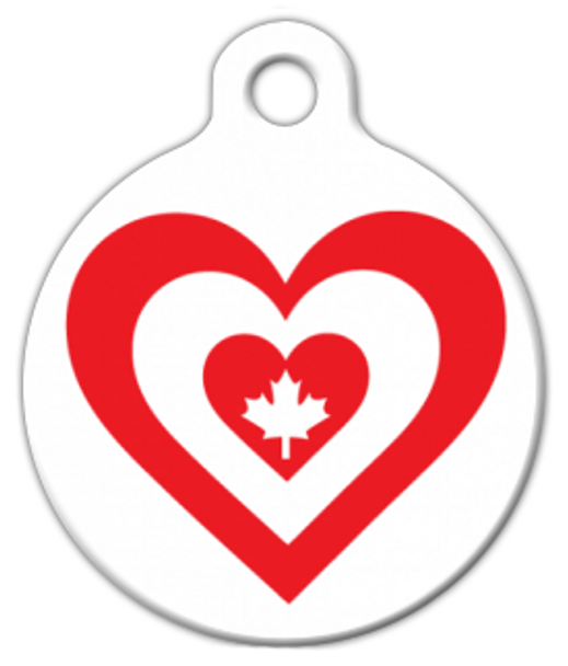 Dog Tag Art Canada Heart Flag Pet ID Dog Tag