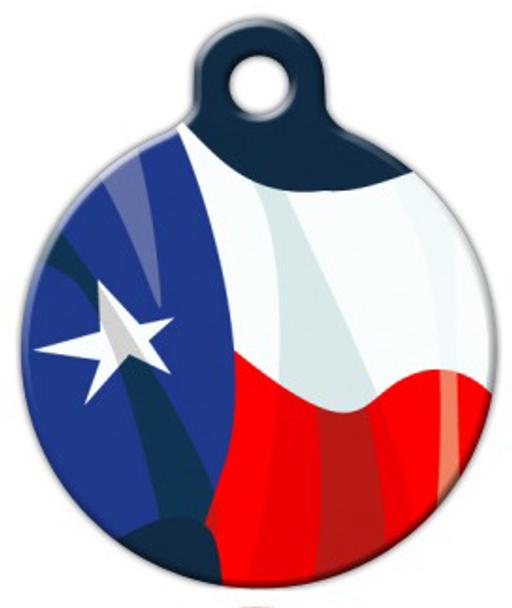 Dog Tag Art Texas Flag Wave Pet ID Dog Tag