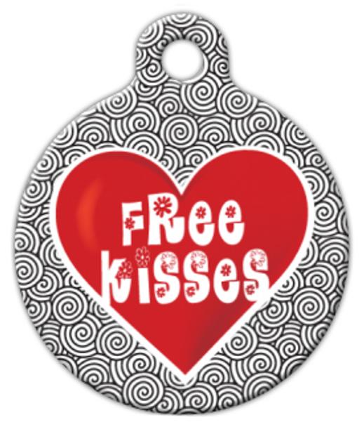 Dog Tag Art Free Kisses Pet ID Dog Tag