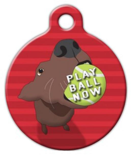 Dog Tag Art Play Ball Now Pet ID Dog Tag