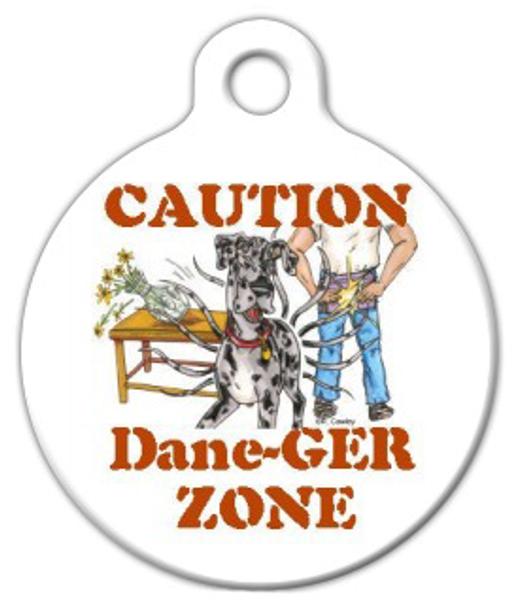 Dog Tag Art Dane-ger Zone Great Dane Pet ID Dog Tag