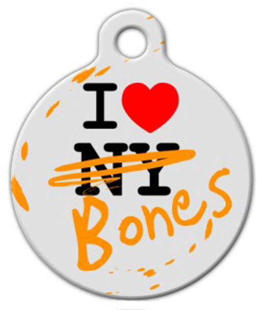 Dog Tag Art I Love Both NY and Bones Pet ID Dog Tag