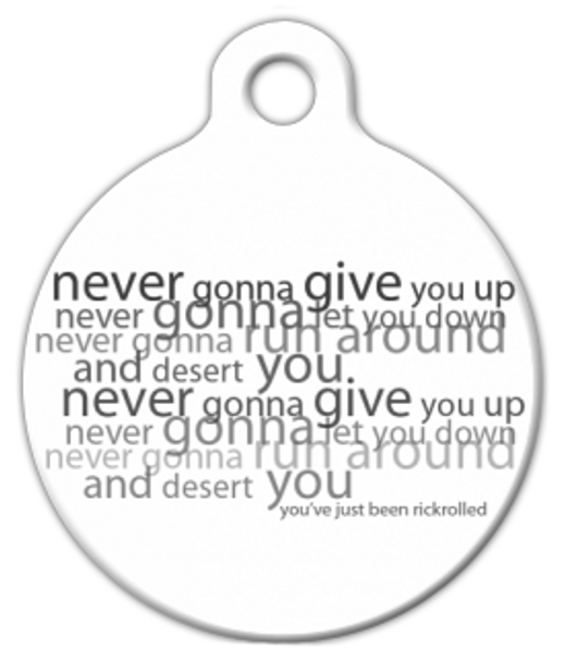 Dog Tag Art RickRolled Pet ID Dog Tag