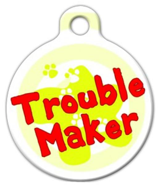 Dog Tag Art Trouble Maker Pet ID Dog Tag