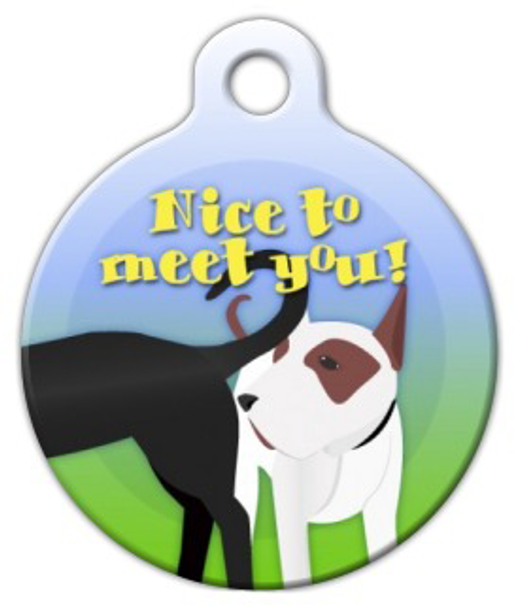 Dog Tag Art Nice to Meet You Pet ID Dog Tag