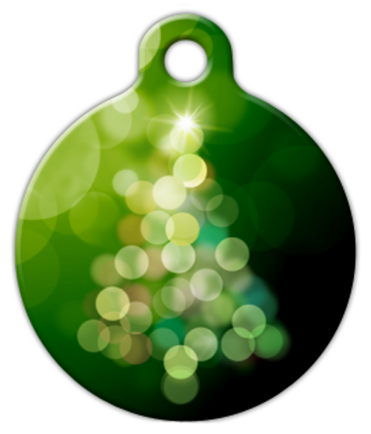 Dog Tag Art Bright Christmas Tree in Green Pet ID Dog Tag