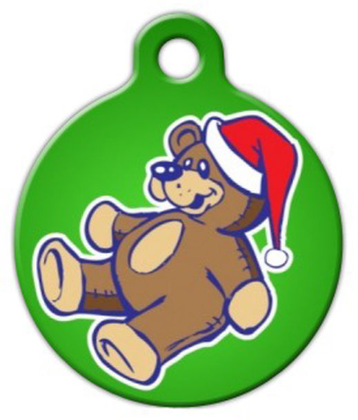 Dog Tag Art Teddy Bear Santa Pet ID Dog Tag