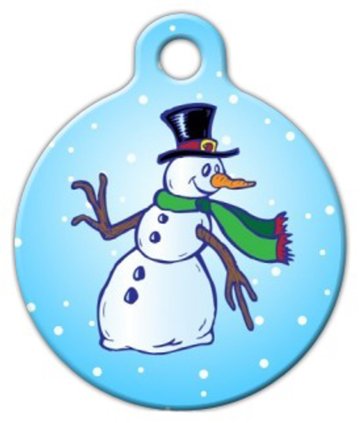 Dog Tag Art Frosty Snowman Pet ID Dog Tag