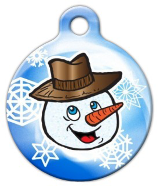 Dog Tag Art Smiley Mister Snowman Pet ID Dog Tag
