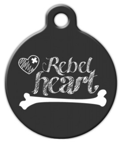 Dog Tag Art Rebel Heart in Chalk Pet ID Dog Tag