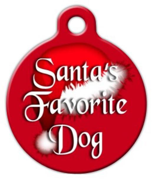 Dog Tag Art Santa's Favorite Dog Pet ID Dog Tag