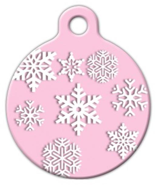 Dog Tag Art Pink Snowflake Pet ID Dog Tag