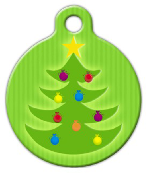 Dog Tag Art Christmas Tree Glow Pet ID Dog Tag