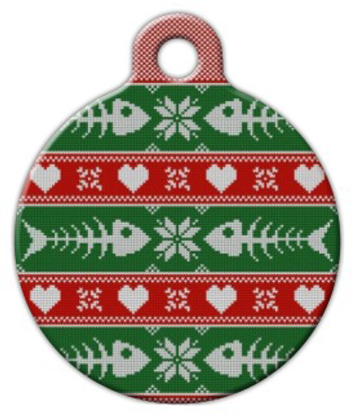 Dog Tag Art Fishbone Christmas Sweater Pet ID Dog Tag