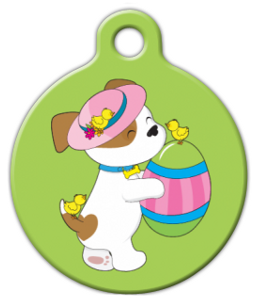 Dog Tag Art Easter Puppy with Egg Green Pet ID Dog Tag