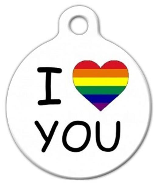 Dog Tag Art I 'Heart' You LGBT Pet ID Dog Tag