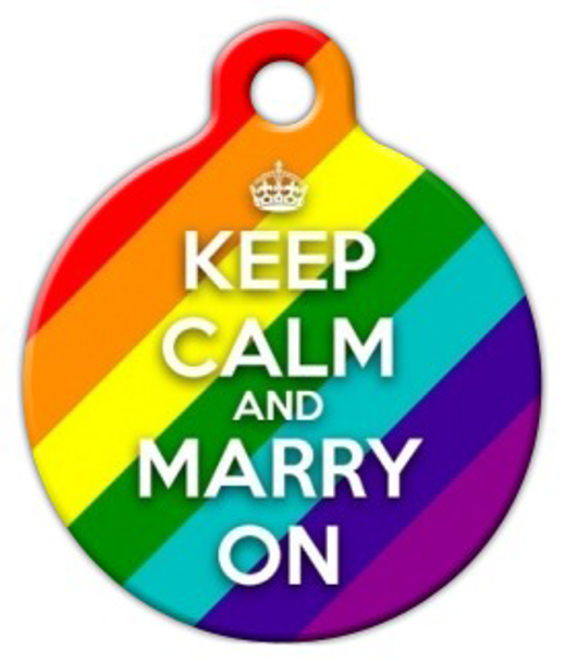 Dog Tag Art Keep Calm and Marry On Pet ID Dog Tag