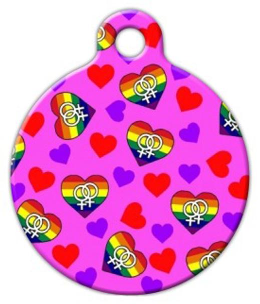 Dog Tag Art Female Hearts Pet ID Dog Tag