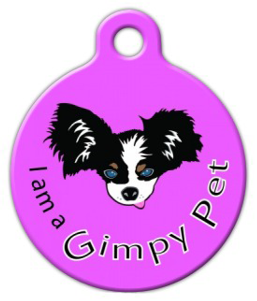 Dog Tag Art I am a Gimpy Pet Purple Pet ID Dog Tag