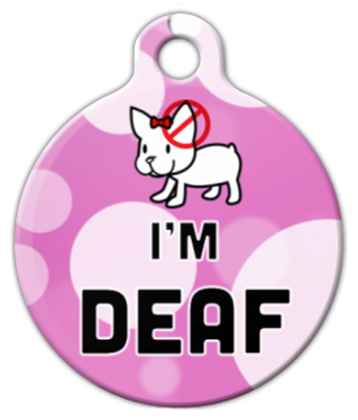 Dog Tag Art Cute Pink Deaf Pet ID Dog Tag
