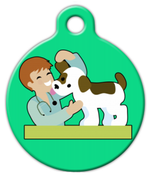Dog Tag Art Love My Veterinarian Pet ID Dog Tag